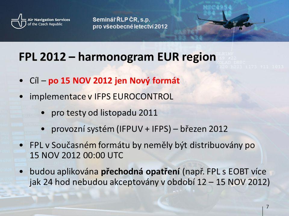 FPL 2012 – harmonogram EUR region