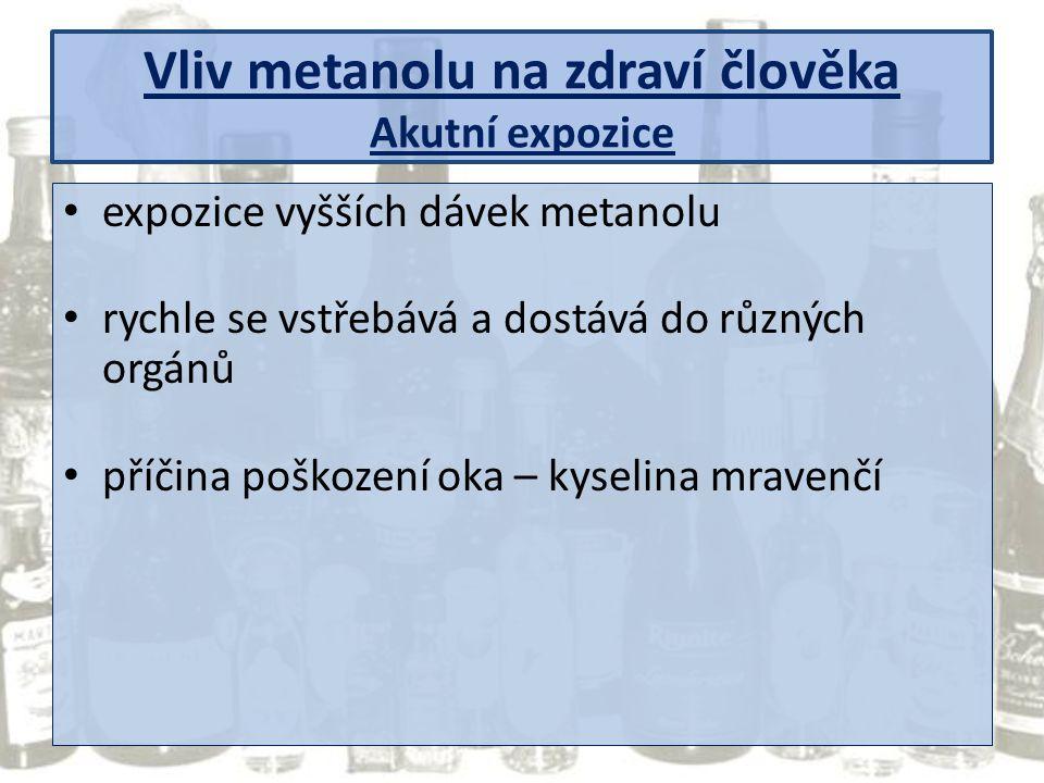 Vliv metanolu na zdraví člověka Akutní expozice