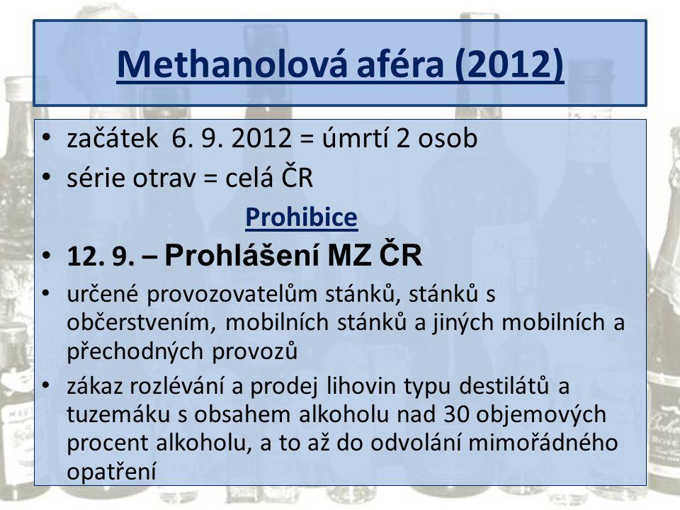 Methanolová aféra (2012) začátek 6. 9. 2012 = úmrtí 2 osob