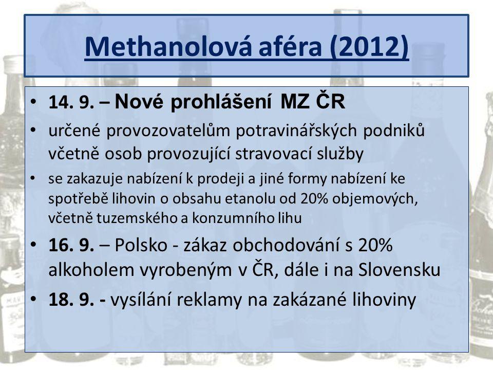 Methanolová aféra (2012) 14. 9. – Nové prohlášení MZ ČR