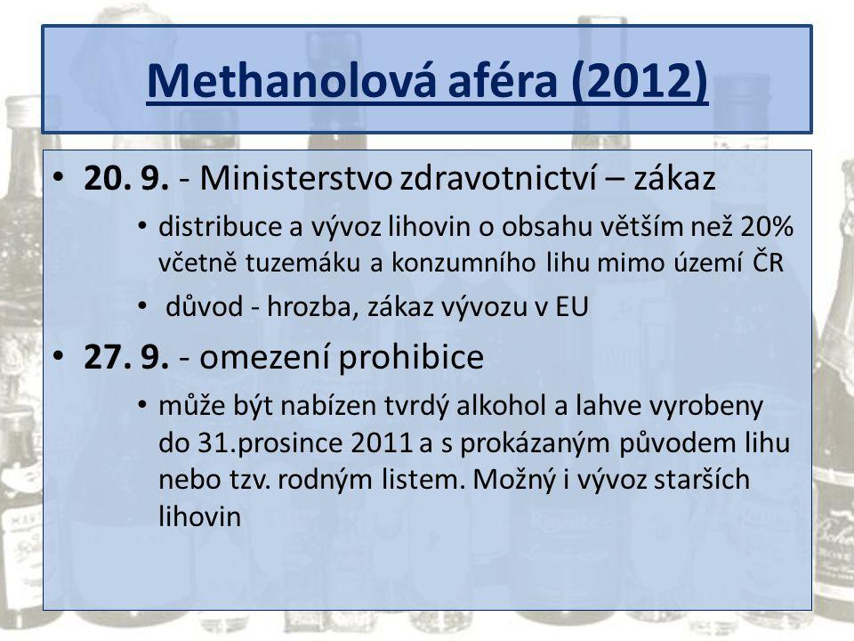 Methanolová aféra (2012) 20. 9. - Ministerstvo zdravotnictví – zákaz
