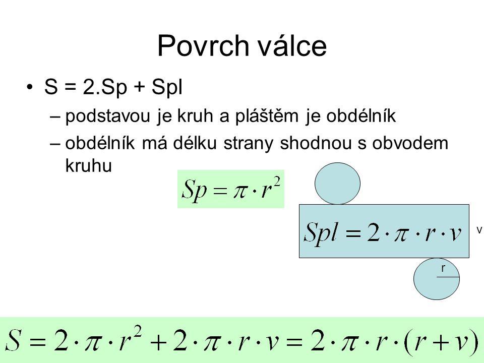 Povrch válce S = 2.Sp + Spl podstavou je kruh a pláštěm je obdélník