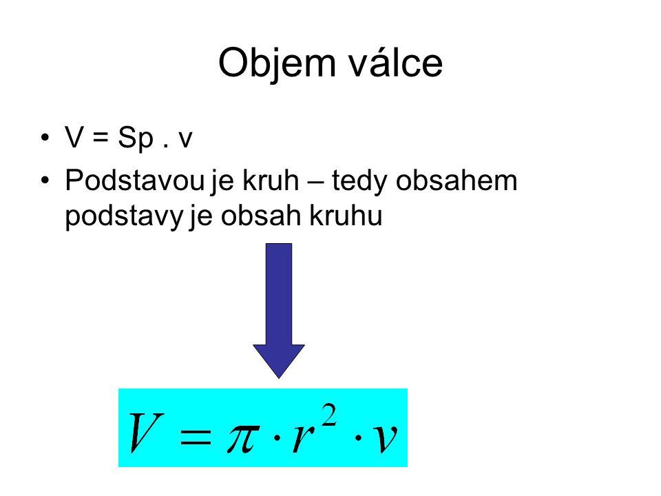 Objem válce V = Sp . v Podstavou je kruh – tedy obsahem podstavy je obsah kruhu