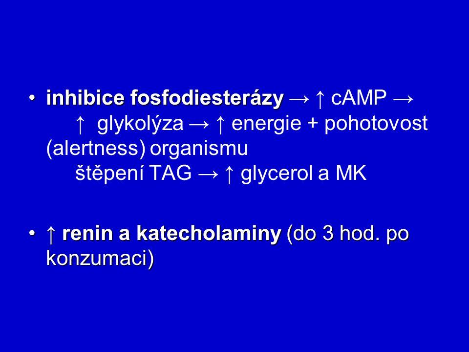inhibice fosfodiesterázy → ↑ cAMP →