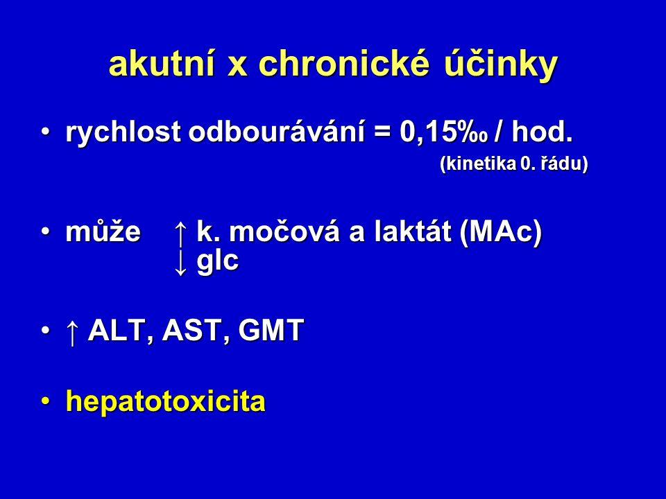 akutní x chronické účinky