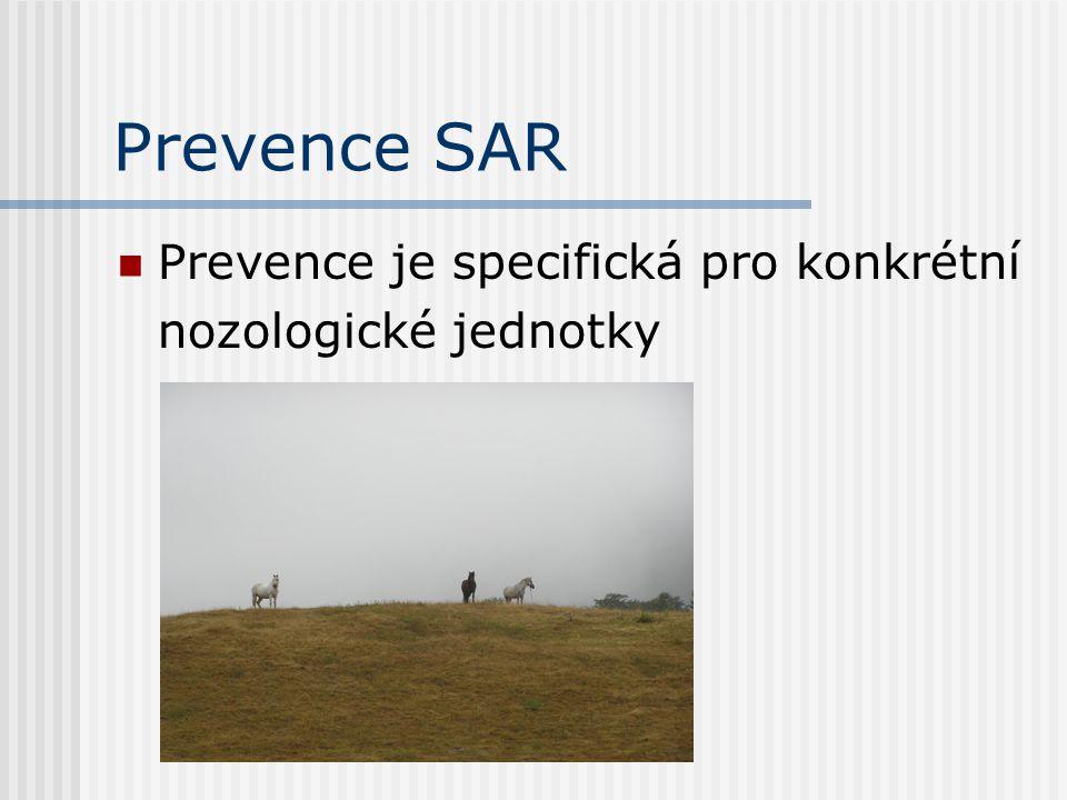 Prevence SAR Prevence je specifická pro konkrétní nozologické jednotky