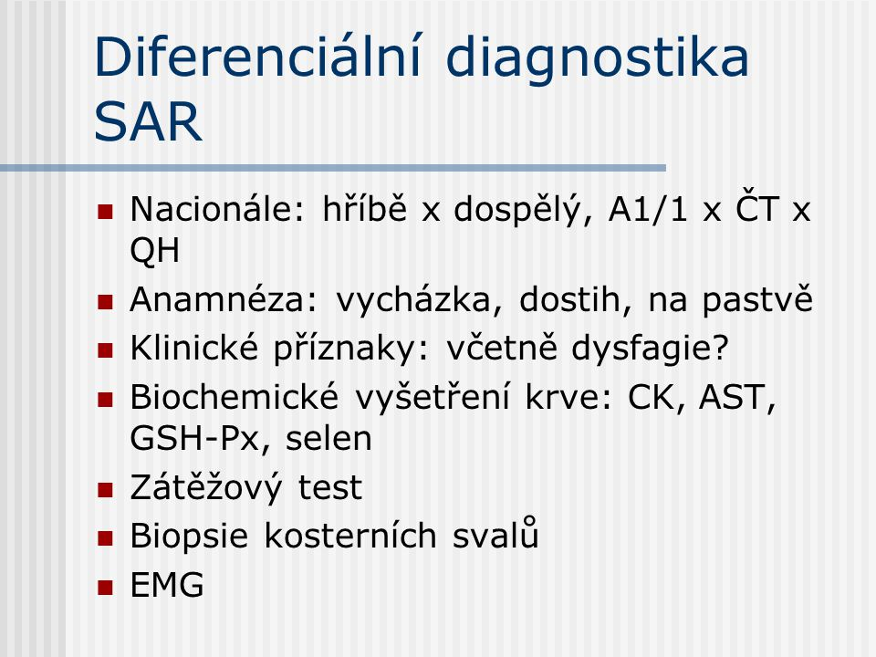 Diferenciální diagnostika SAR