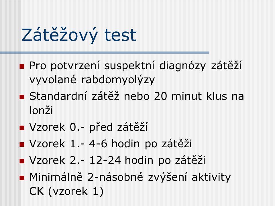 Zátěžový test Pro potvrzení suspektní diagnózy zátěží vyvolané rabdomyolýzy. Standardní zátěž nebo 20 minut klus na lonži.