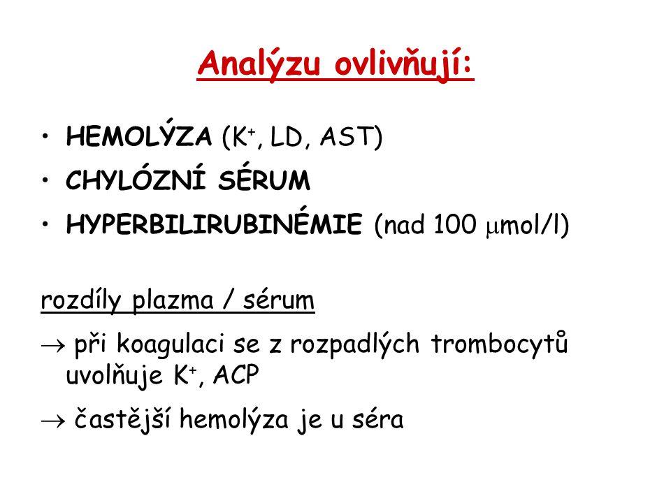 Analýzu ovlivňují: HEMOLÝZA (K+, LD, AST) CHYLÓZNÍ SÉRUM