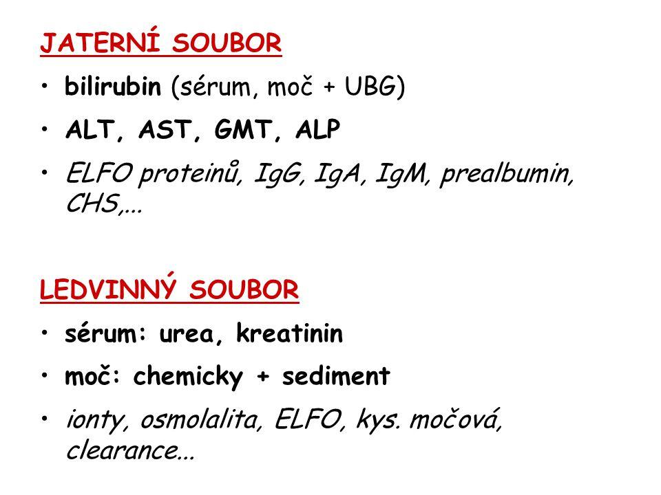 JATERNÍ SOUBOR bilirubin (sérum, moč + UBG) ALT, AST, GMT, ALP. ELFO proteinů, IgG, IgA, IgM, prealbumin, CHS,...