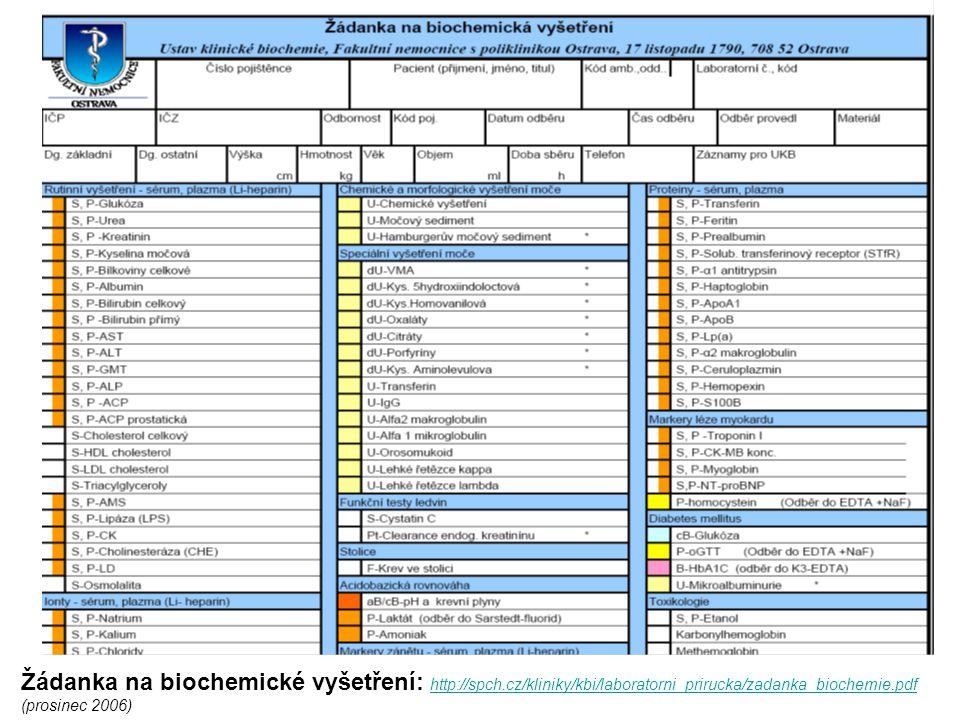 Žádanka na biochemické vyšetření: http://spch