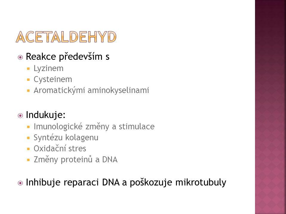 aCetaldehyd Reakce především s Indukuje: