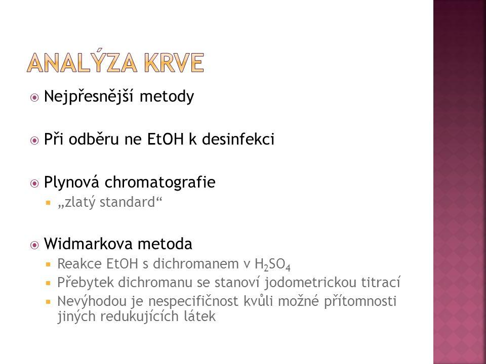 Analýza krve Nejpřesnější metody Při odběru ne EtOH k desinfekci
