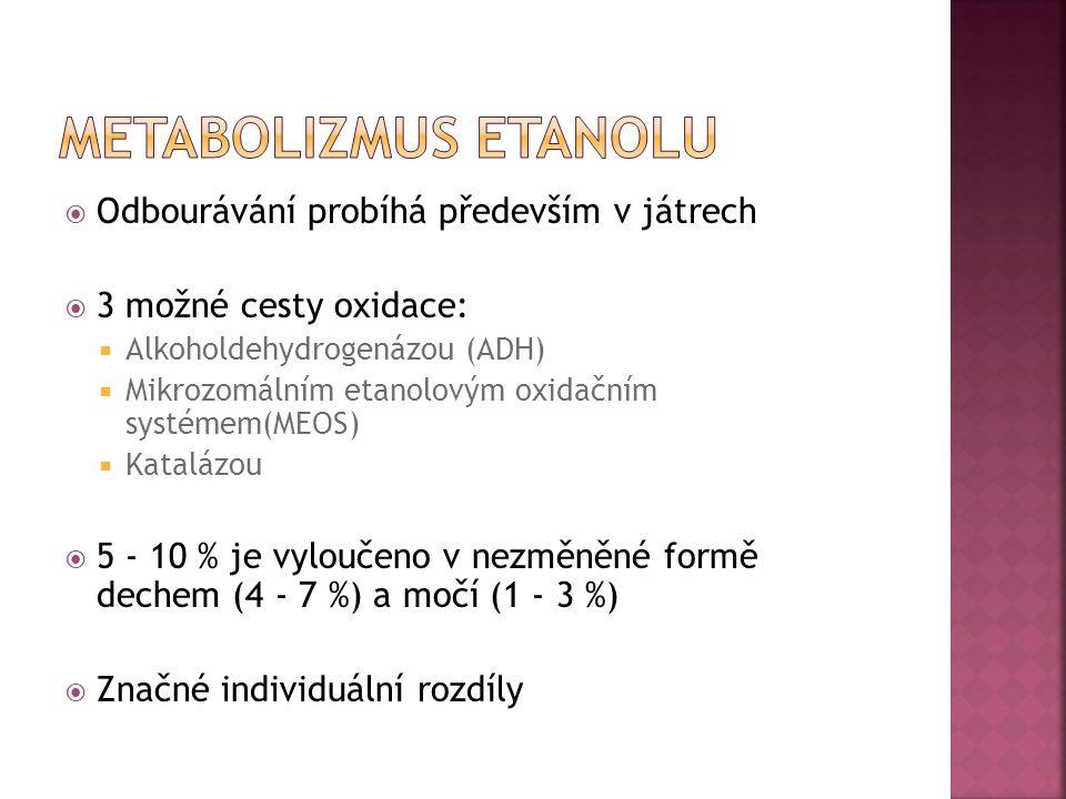 Metabolizmus etanolu Odbourávání probíhá především v játrech