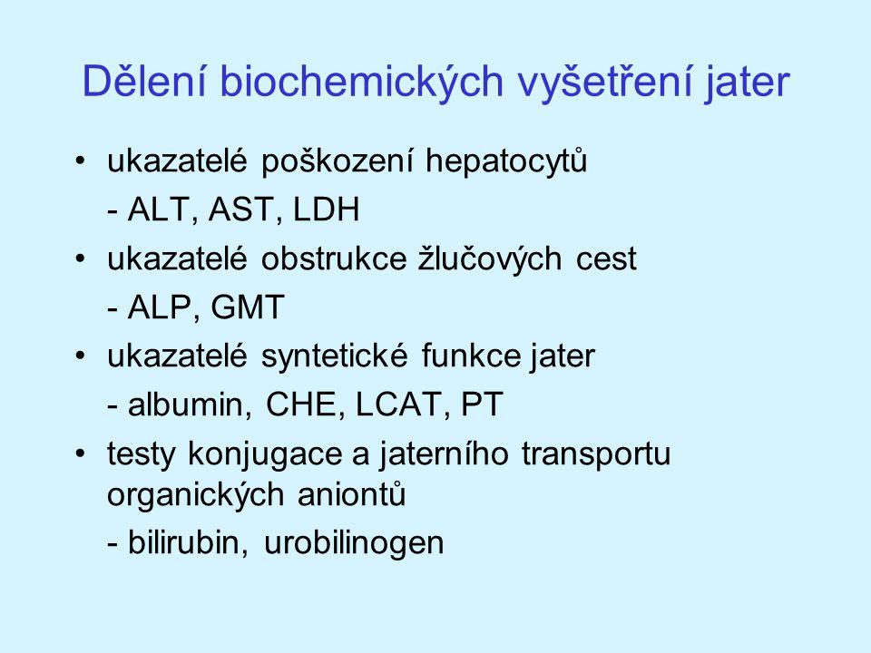 Dělení biochemických vyšetření jater