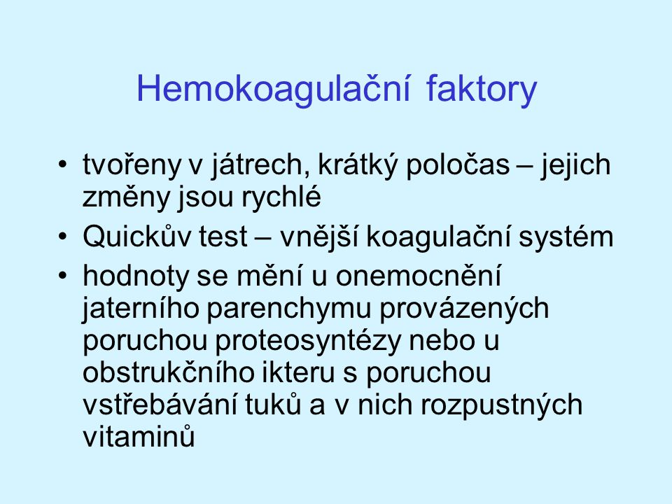 Hemokoagulační faktory
