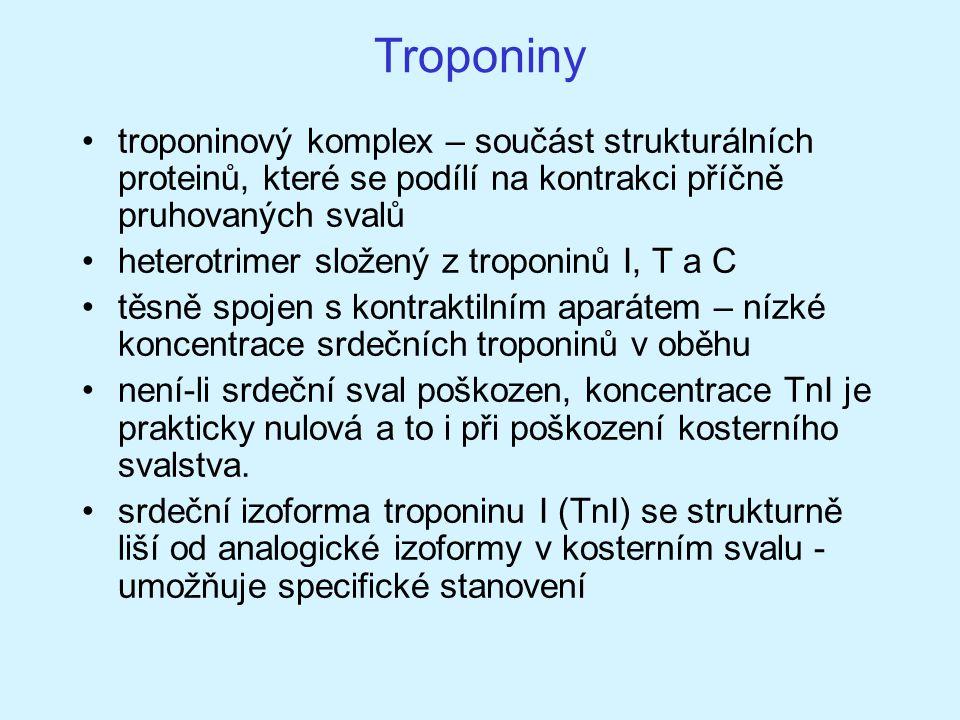 Troponiny troponinový komplex – součást strukturálních proteinů, které se podílí na kontrakci příčně pruhovaných svalů.