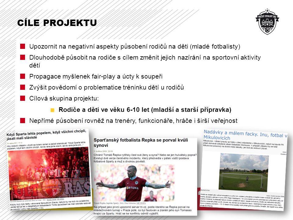 CÍLE PROJEKTU Upozornit na negativní aspekty působení rodičů na děti (mladé fotbalisty)