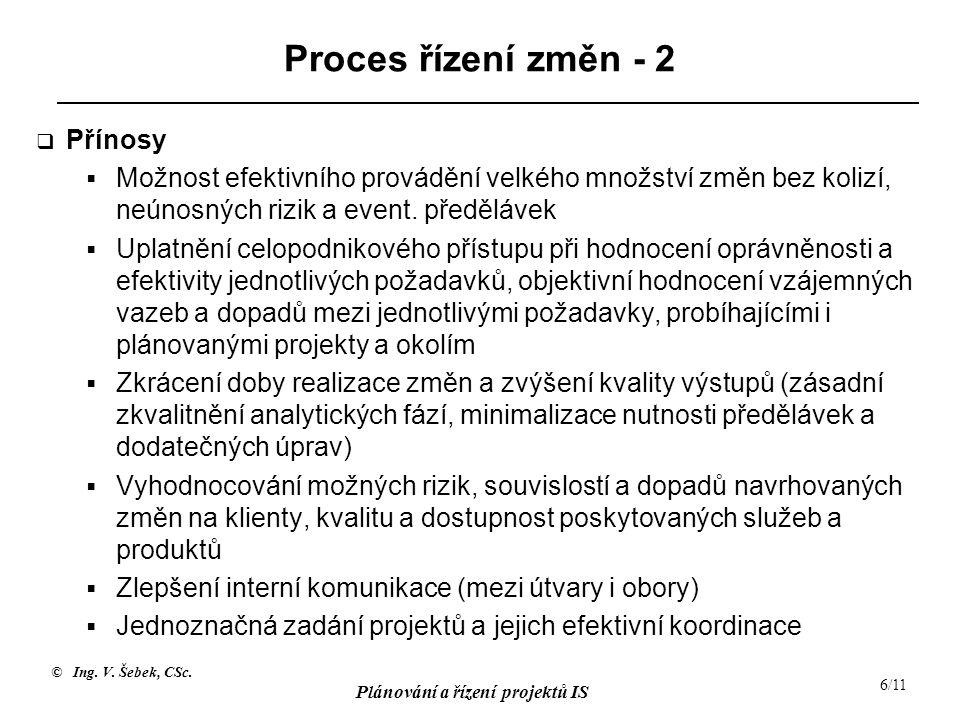 Proces řízení změn - 2 Přínosy