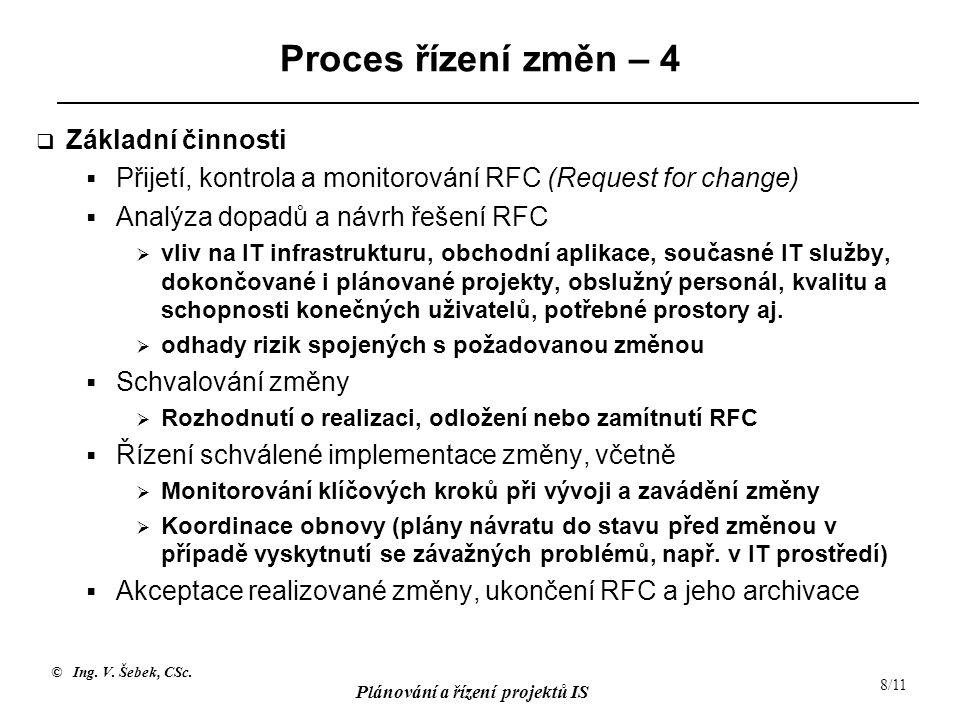Proces řízení změn – 4 Základní činnosti