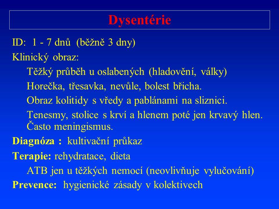 Dysentérie ID: 1 - 7 dnů (běžně 3 dny) Klinický obraz: