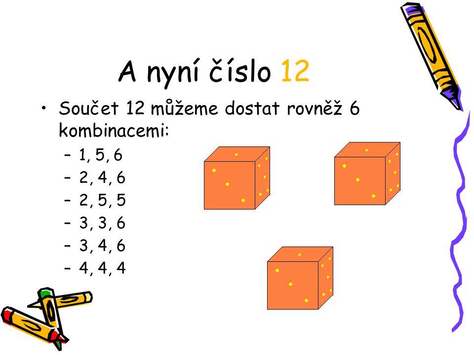 A nyní číslo 12 Součet 12 můžeme dostat rovněž 6 kombinacemi: 1, 5, 6
