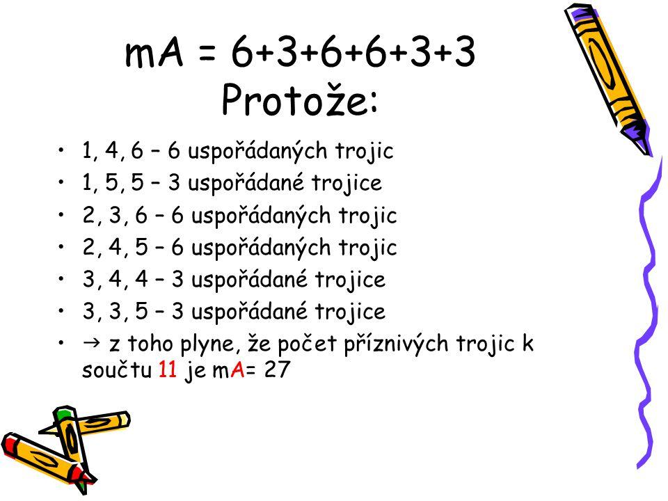 mA = 6+3+6+6+3+3 Protože: 1, 4, 6 – 6 uspořádaných trojic