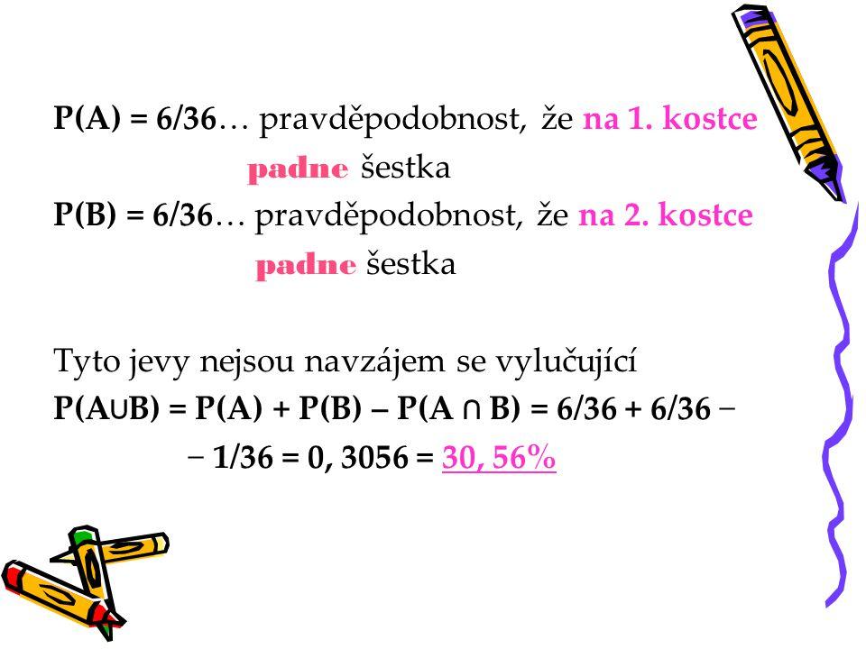 P(A) = 6/36… pravděpodobnost, že na 1. kostce