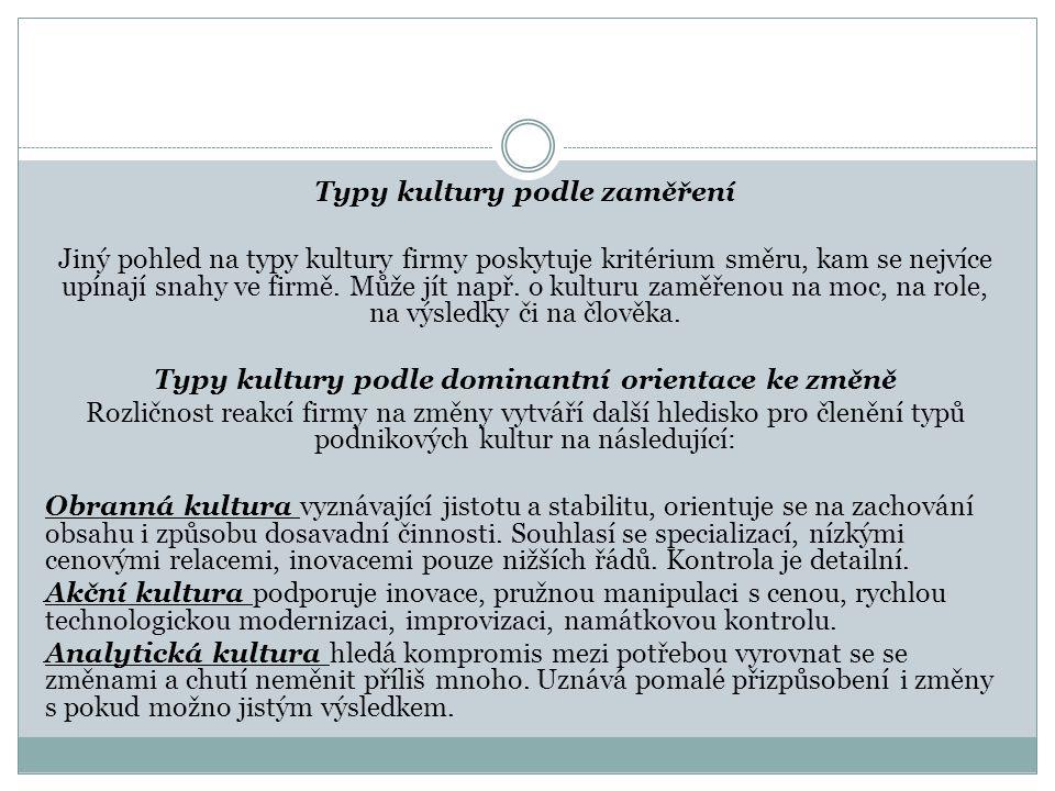 Typy kultury podle zaměření