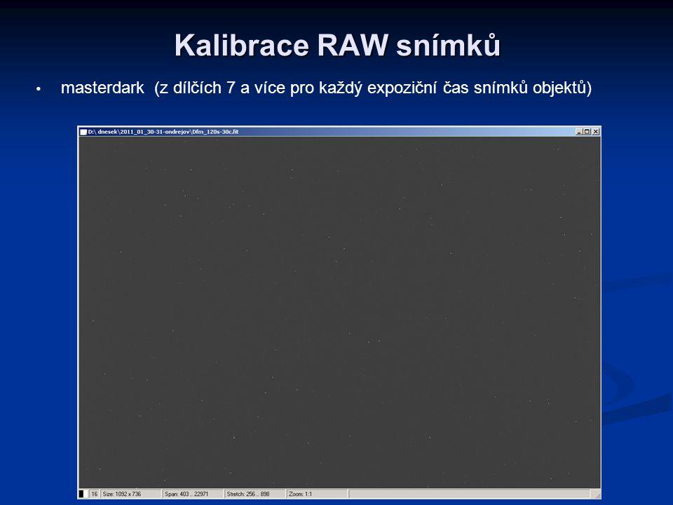 Kalibrace RAW snímků masterdark (z dílčích 7 a více pro každý expoziční čas snímků objektů)