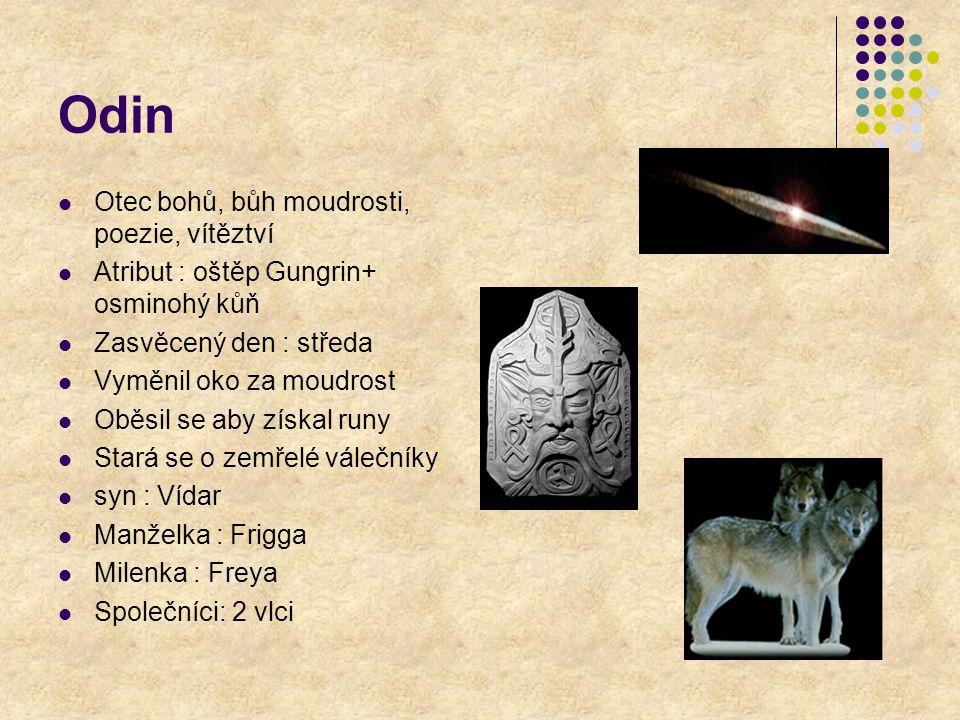 Odin Otec bohů, bůh moudrosti, poezie, vítěztví