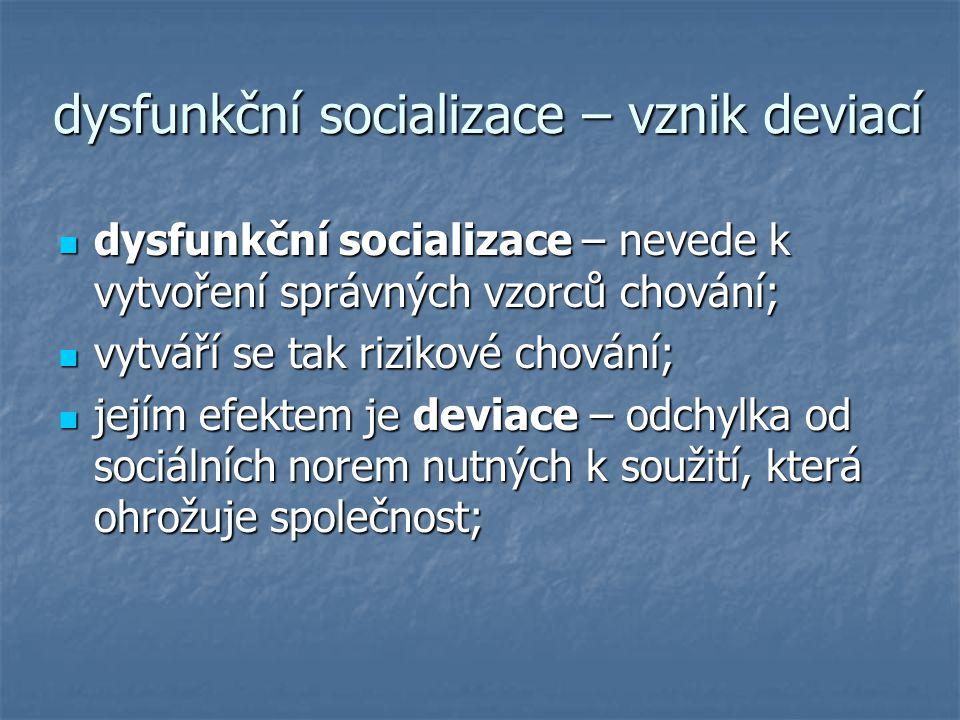 dysfunkční socializace – vznik deviací