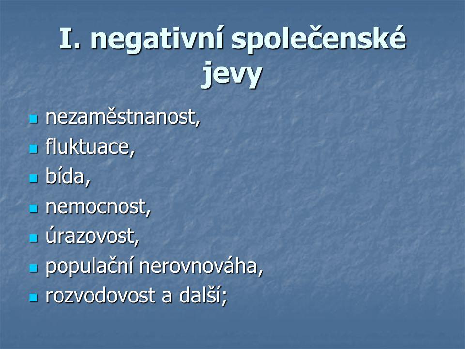 I. negativní společenské jevy