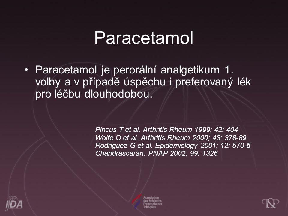Paracetamol Paracetamol je perorální analgetikum 1. volby a v případě úspěchu i preferovaný lék pro léčbu dlouhodobou.