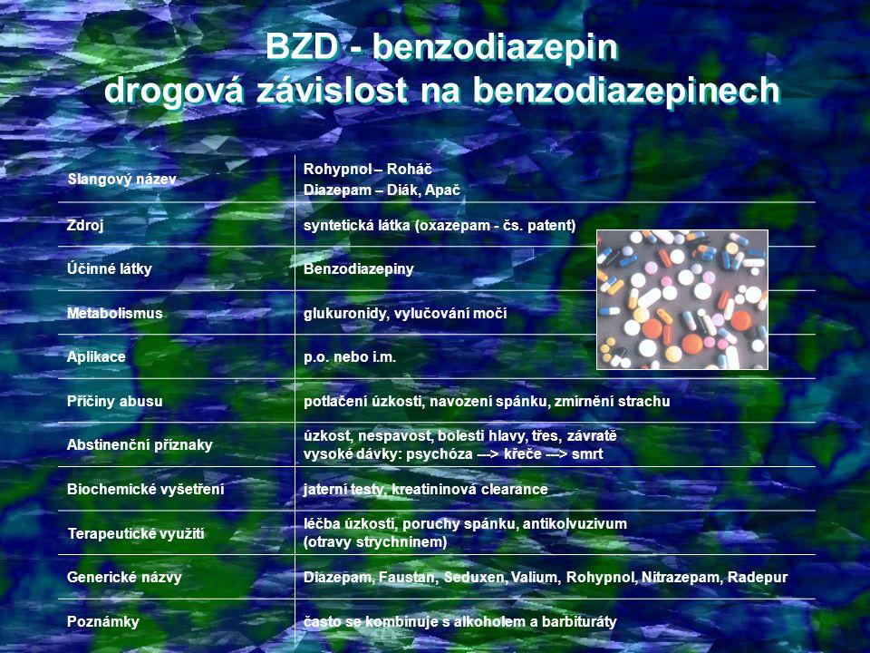 BZD - benzodiazepin drogová závislost na benzodiazepinech