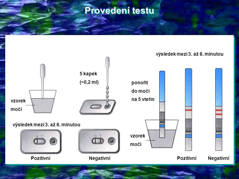 Provedení testu výsledek mezi 3. až 8. minutou 5 kapek (~0,2 ml)