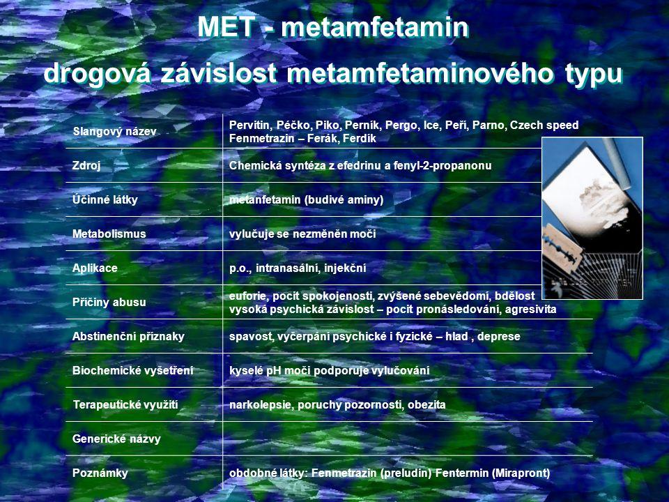 MET - metamfetamin drogová závislost metamfetaminového typu