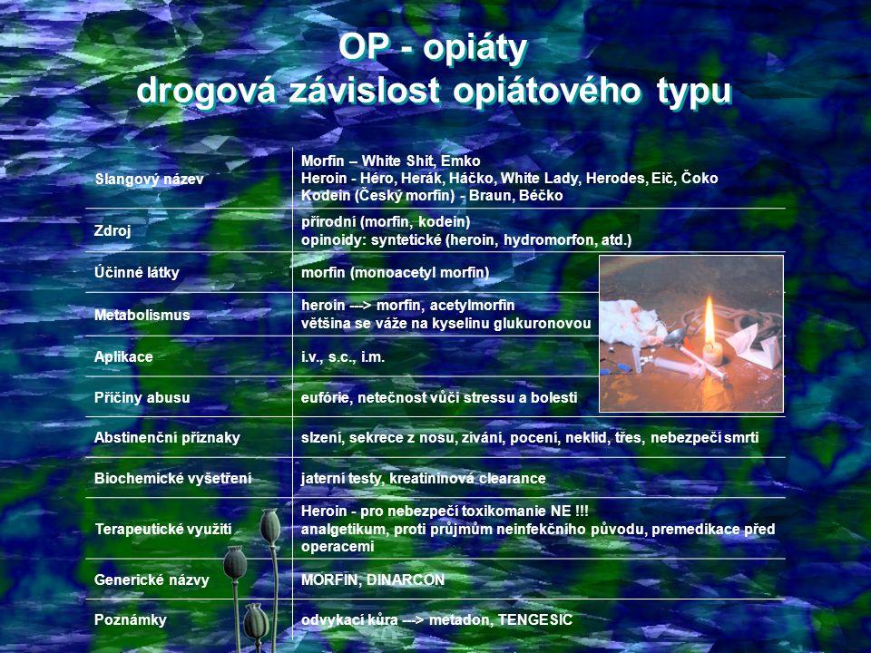 OP - opiáty drogová závislost opiátového typu
