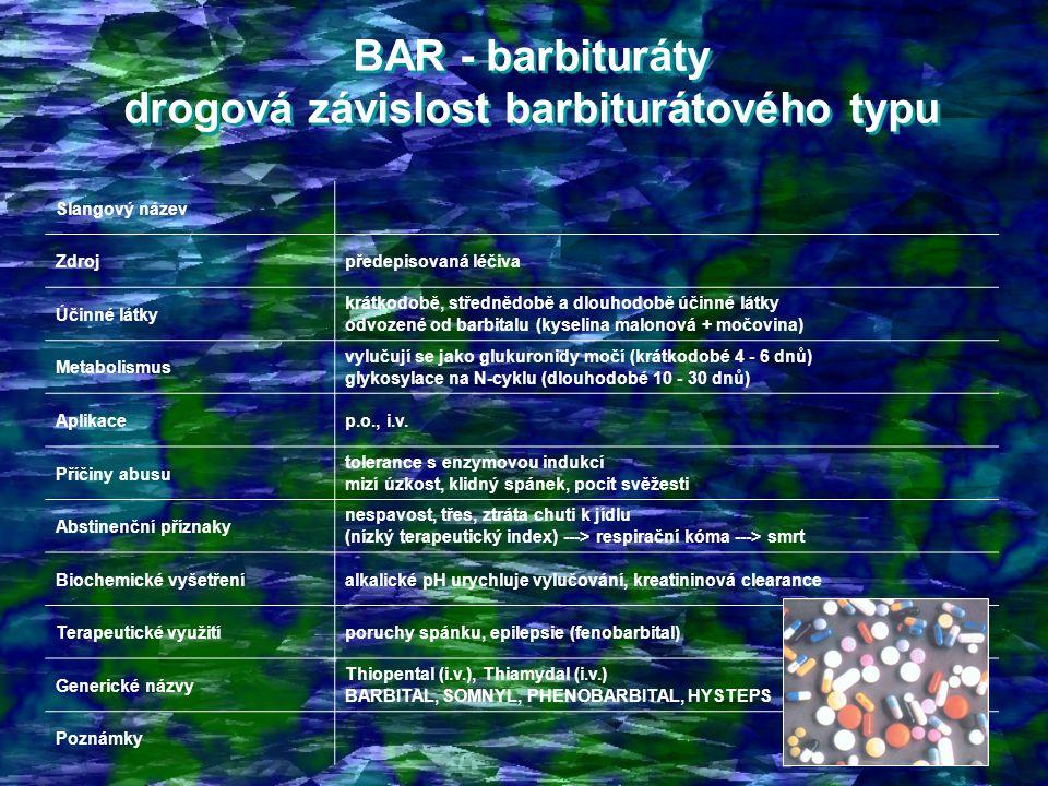 BAR - barbituráty drogová závislost barbiturátového typu
