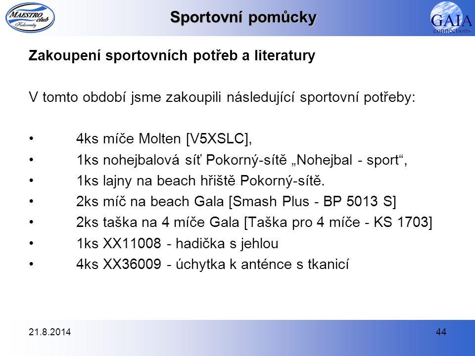 Sportovní pomůcky Zakoupení sportovních potřeb a literatury