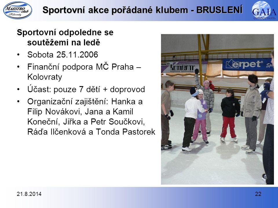 Sportovní akce pořádané klubem - BRUSLENÍ