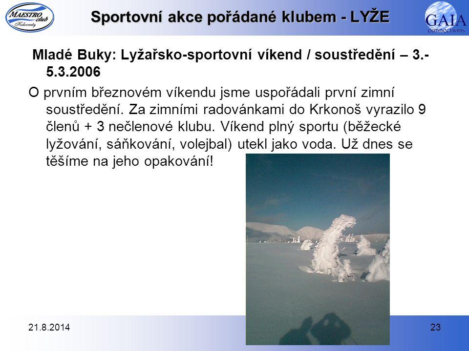 Sportovní akce pořádané klubem - LYŽE