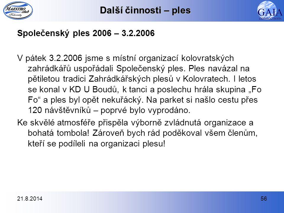 Další činnosti – ples Společenský ples 2006 – 3.2.2006