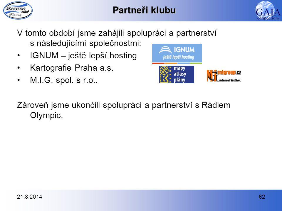 Partneři klubu V tomto období jsme zahájili spolupráci a partnerství s následujícími společnostmi: IGNUM – ještě lepší hosting.