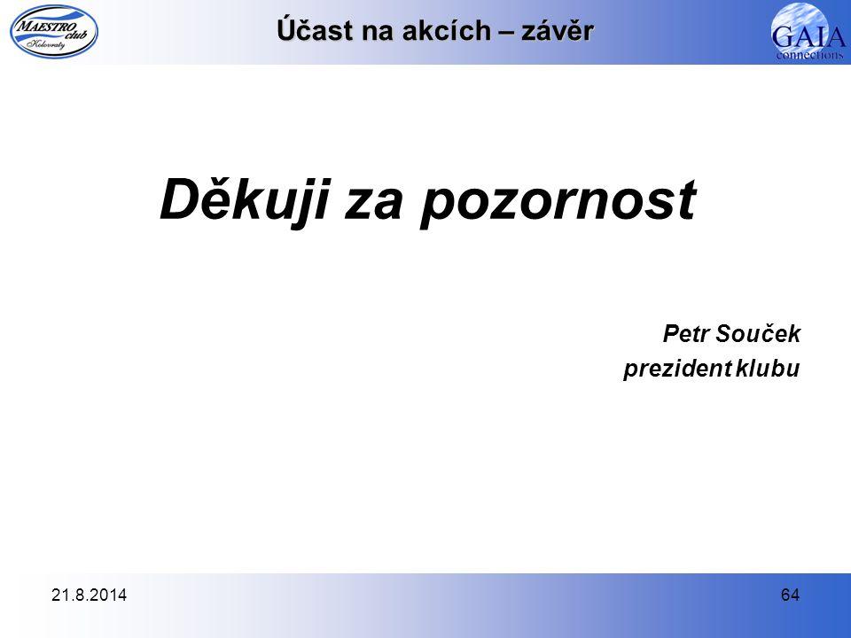 Děkuji za pozornost Účast na akcích – závěr Petr Souček