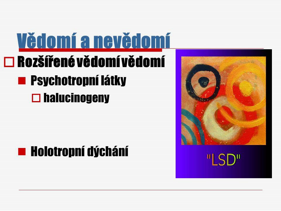 Vědomí a nevědomí Rozšířené vědomí vědomí Psychotropní látky