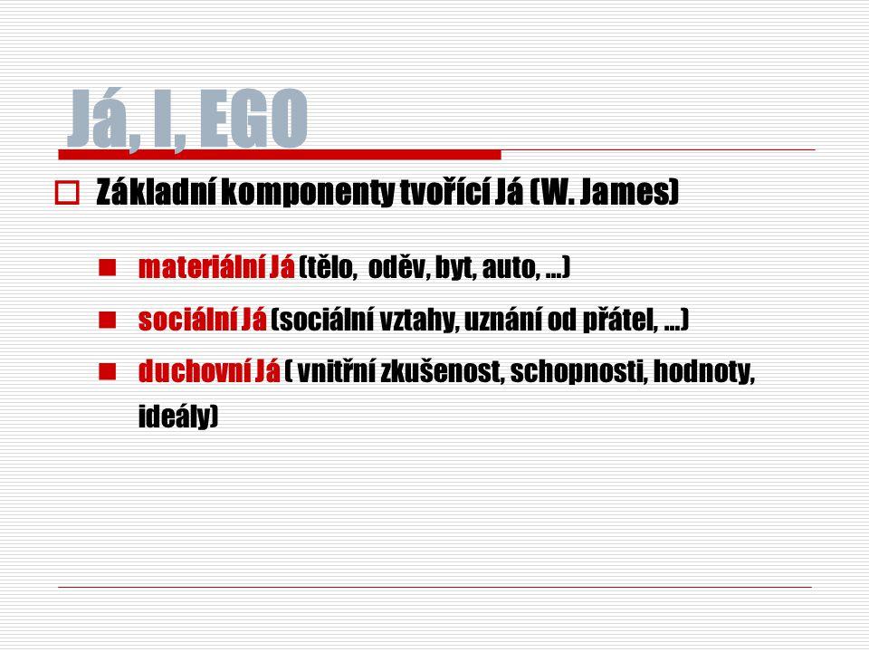 Já, I, EGO Základní komponenty tvořící Já (W. James)