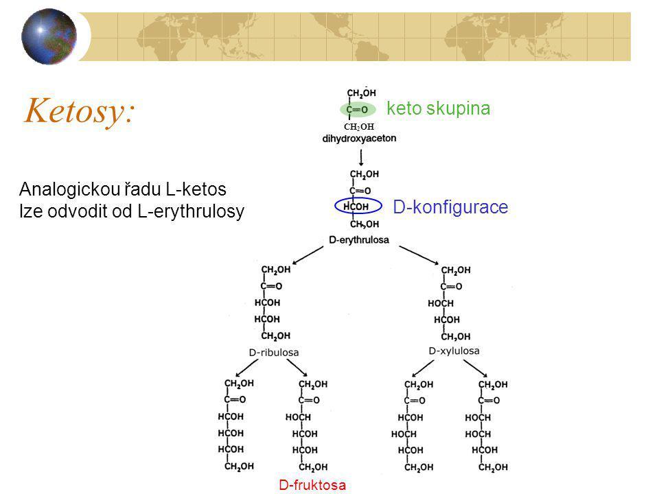 Ketosy: keto skupina Analogickou řadu L-ketos
