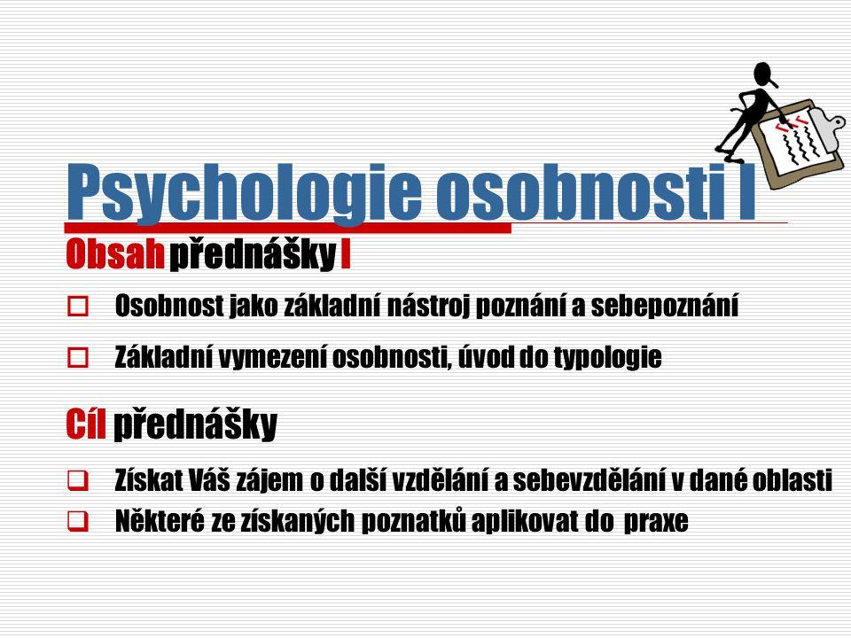 Psychologie osobnosti I