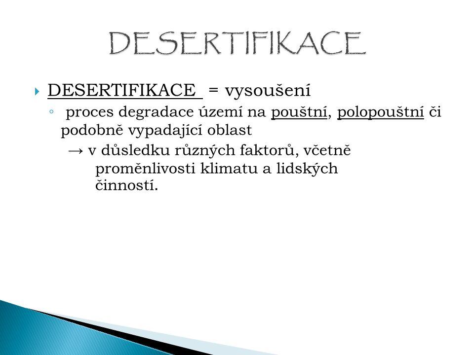 DESERTIFIKACE DESERTIFIKACE = vysoušení